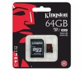 MicroSD 32GB Kingston Class 10 UHS-I U1 (80 Mb/s) + SD адаптер - фото, изображение, картинка